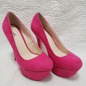 Qupid | Hot Pink Suede Platform Heels